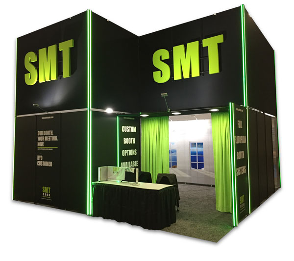 Custom 20x20' Black booth 16' high. SMT green accents and company name